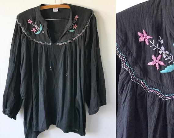 Vintage 70s India Cotton Gauze Top, Embroidered Blouse , Geeta Blouse