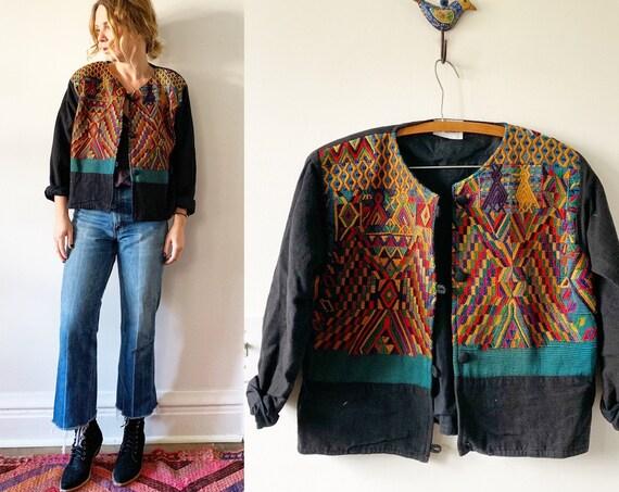 Vintage Guatemalan Embroidered Jacket , Ethnic Bolero Jacket