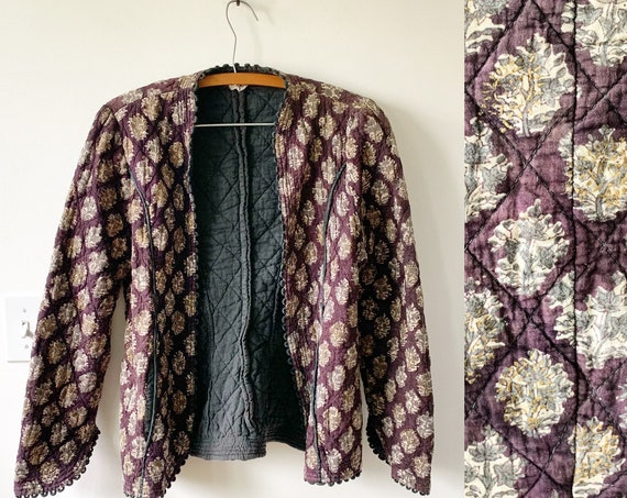 Vintage Phool Quilted India Cotton Gauze Jacket , RARE India Jacket , Block Print Phool Jacket