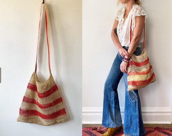 Vintage Woven Bilum Bag , Woven Beach Bag