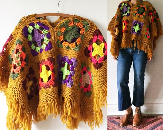 Vintage Afghan Crochet Cardigan , Oversize Hippie Sweater , Chunky Poncho