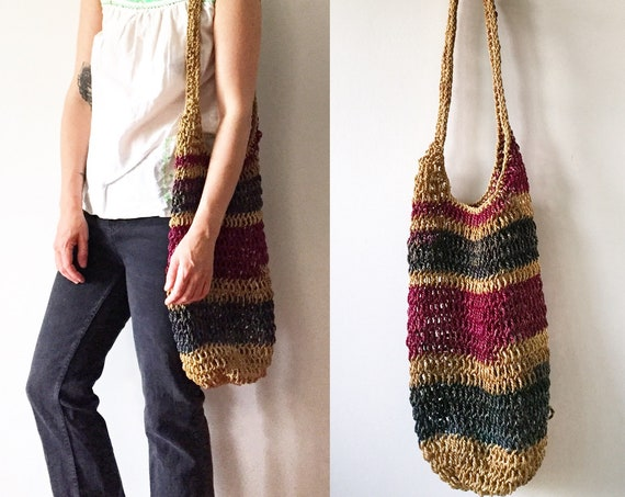 Vintage Net Bag , Woven Jute Bag , Summer Bag