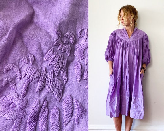 Vintage Indian cotton Dress w/ Embroidery, Embroidered Cotton Midid Dress