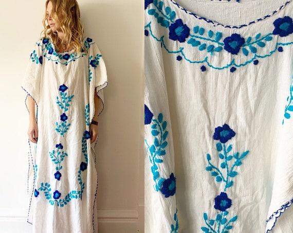 Vintage Embroidered Mexican Caftan, Oaxaca Kaftan