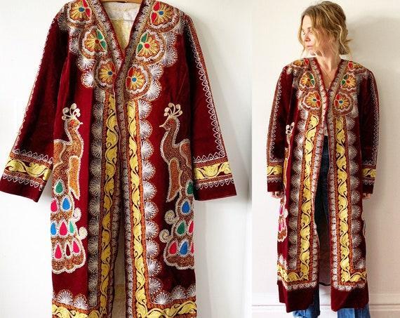 Vintage 70s Ethnic Tribal Coat , Embroidered Velvet Coat , Ottoman Long Coat