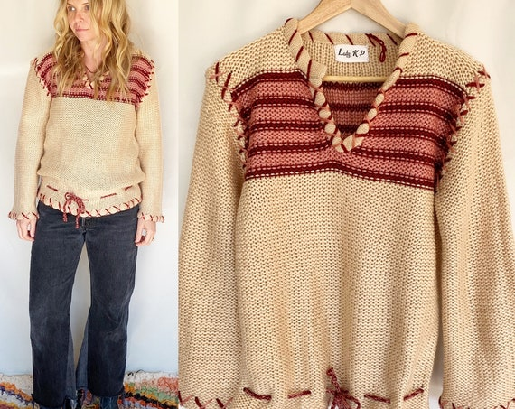 Vintage 70s Hand Knit Pullover, Hand  Knit Sweater