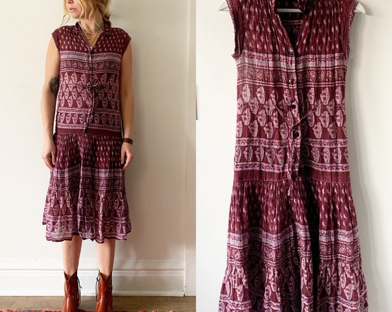 Vintage 70s Block Print Dress , Sleeveless India Cotton Gauze Dress