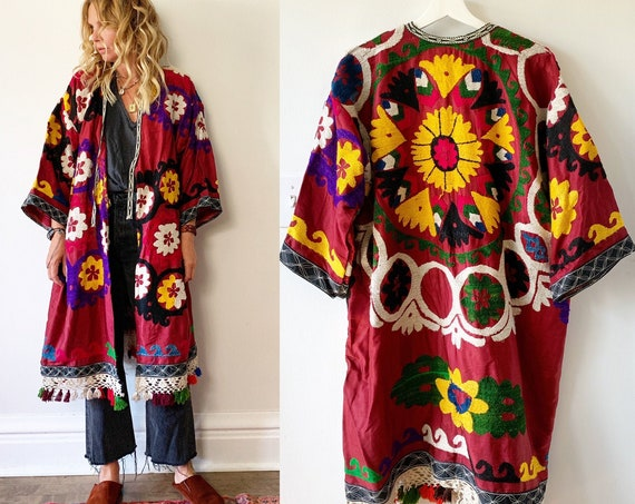 Vintage Embroidered Coat, Uzbek Tribal Coat , Embroidered Kimono Coat