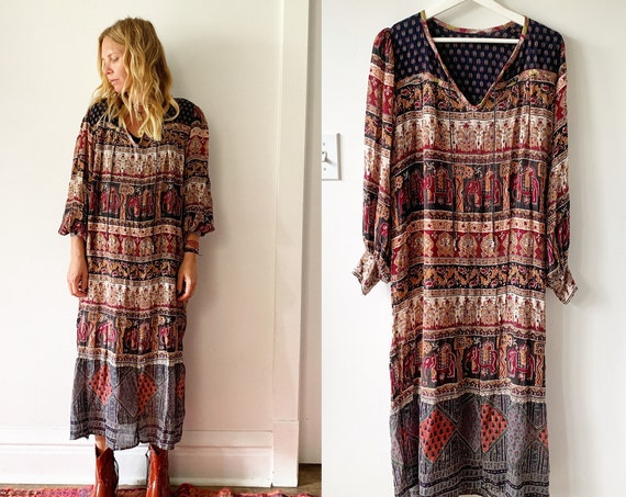 Vintage 70s Indian Cotton Dress , BOHO Hippie India Dress ,Lurex Gauze Dress