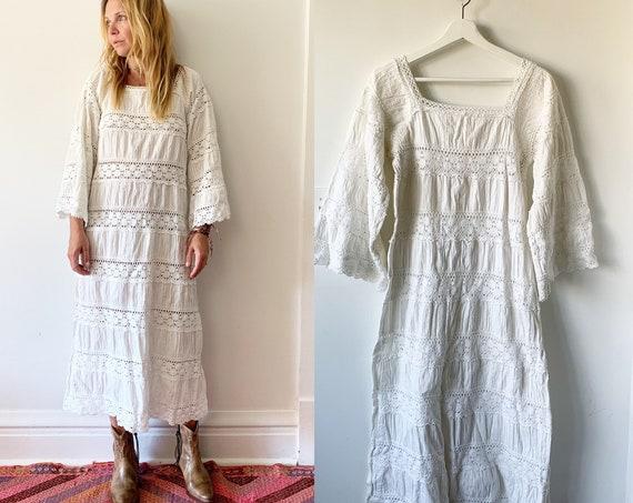 vintage Lace Trim Mexican Cotton Dress ,  Natural Cotton Maxi Kaftan , Mexican Wedding Dress