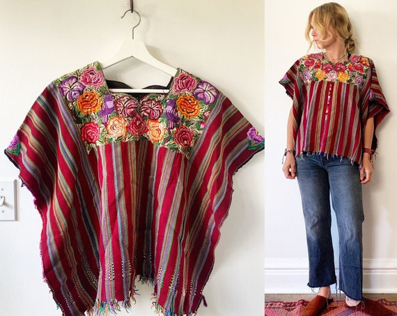 Vintage Guatemalan Huipil , Embroidered Ethnic Top , Embroidered  Blouse