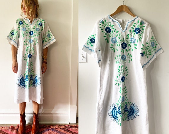 Vintage Embroidered Mexican Dress, Peacock  Tunic Dress