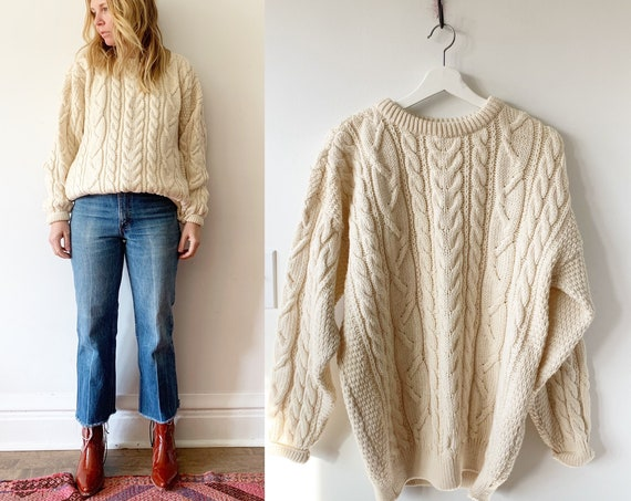 Vintage Chunky Wool Fisherman Sweater , Cable Knit Fisherman Sweater