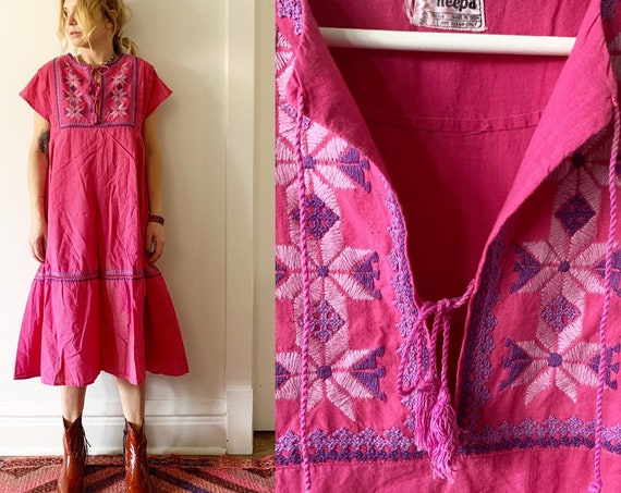 Vintage  Indian Cotton Dress , Embroidered Dress, Sun Dress , Boho Midi Dress