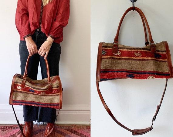 Vintage Turkish Kilim Bag, Ethnic Carpet Purse , Yun Art