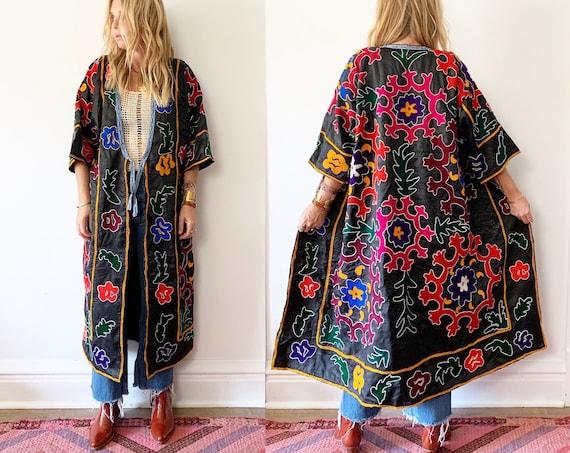 Vintage Embroidered Coat, Uzbek Tribal Coat , Embroidered Maxi Coat