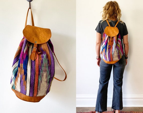 Vintage Oversize Kilim Bag, Ecuador Wool Backpack