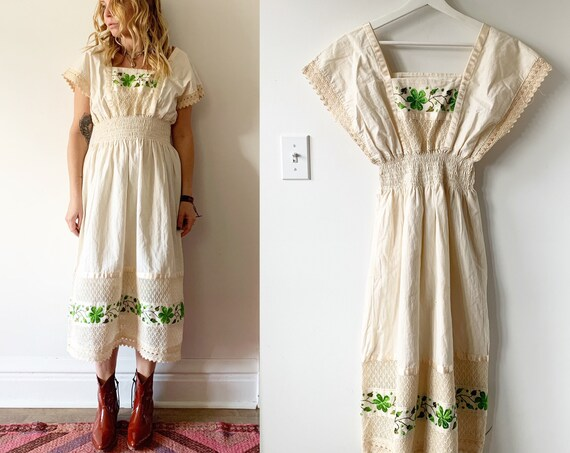 Vintage OAXACA Embroidered Midi Dress , Heavily Embroidered Mexican Dress