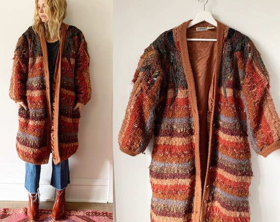 Vintage Fiber Arts Sweater Coat , Oversize Cardigan , Chunky Sweater Coat , Vintage Knit