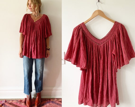 Vintage Cotton Gauze Lurex Top , Grecian Gauze Crochet Top