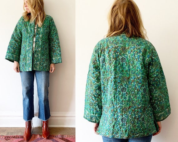 Vintage Ramona Rull Block Print Jacket , Quilted Indian Jacket