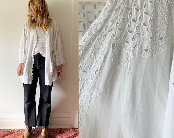 Vintage White Cutout Jacket, Bali Lace Jacket