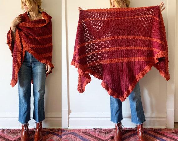 Vintage Afghan Crochet Wrap , BOHO Knit Shawl