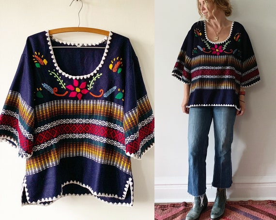 Vintage Ethnic Woven Top , Mexican Hand Loomed Top , Mexican Embroidered Top