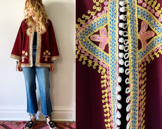 Vintage 70s  Embroidered  Moroccan Jacket , Ethnic Embroidered Jacket