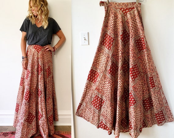 Vintage India Block Print Maxi Skirt , Star of India Skirt , Indian Block Print Maxi