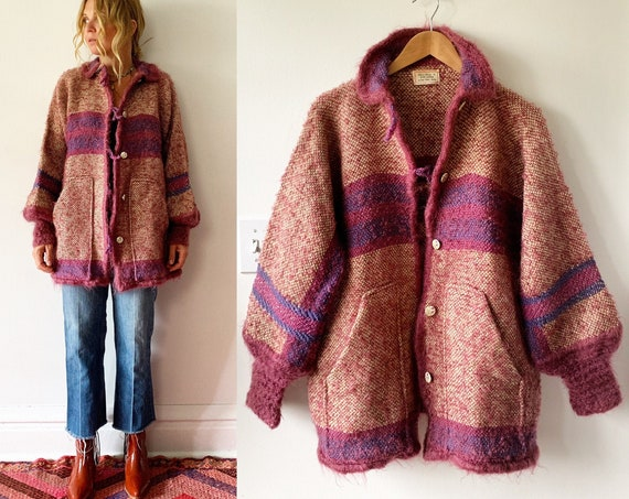 Vintage Fiber Arts Sweater Coat , Oversize Cardigan , Chunky Sweater Coat , Vintage Knit