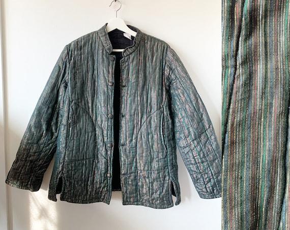 Vintage Quilted Pakistani Cotton Gauze Jacket , RARE India Jacket , Lurex Gauze Jacket