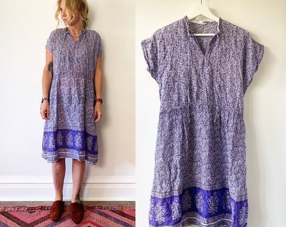 Vintage 70s Block Print Dress , Short Sleeve Pakistani Cotton Dress