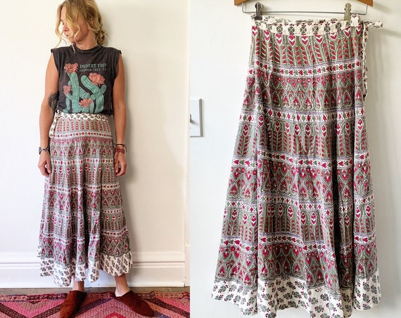 Vintage 70s India Block Printed Wrap Skirt