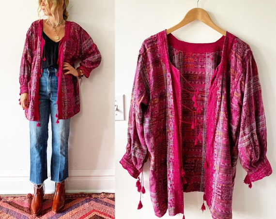 Vintage Mexican Embroidered Ikat Jacket , Puebla Tassed Jacket , Embroidered Mexican Jacket