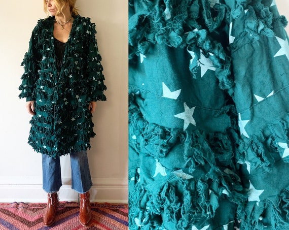 Vintage Shaggy Star Print Jacket , Shagg Coat , Star Print Coat