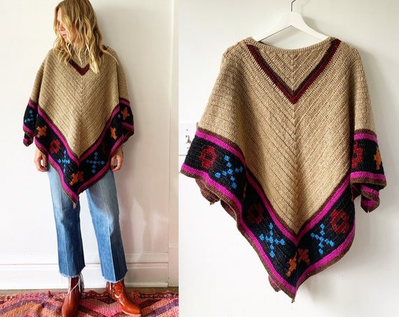 Vintage Afghan Crochet Poncho , Oversize Hippie Sweater , Chunky Poncho