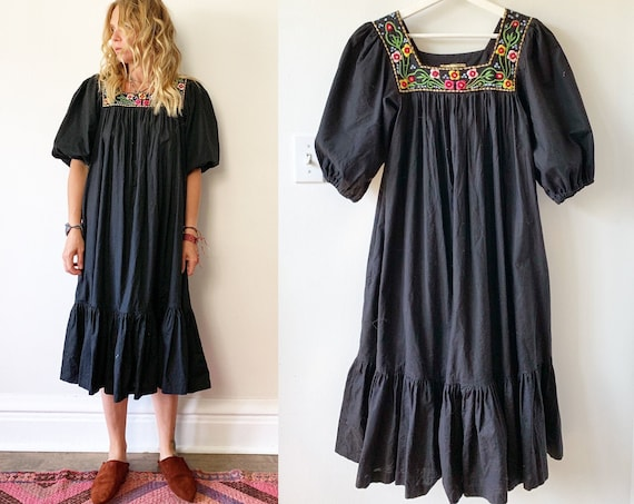 Vintage 70s Ramona Rull Embroidered Dress  , Mirrored India Kaftan , Black Cotton Dress