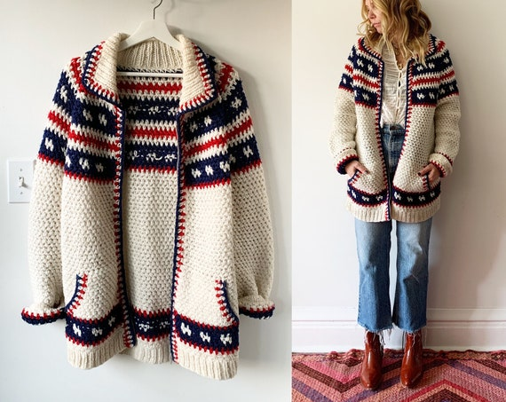 Vintage Afghan Crochet Cardigan , Oversize Hippie Sweater , Afghan Chunky Vets