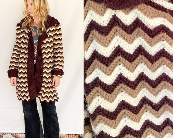 Vintage Afghan Crochet Cardigan , Granny Square Oversize Hippie Sweater