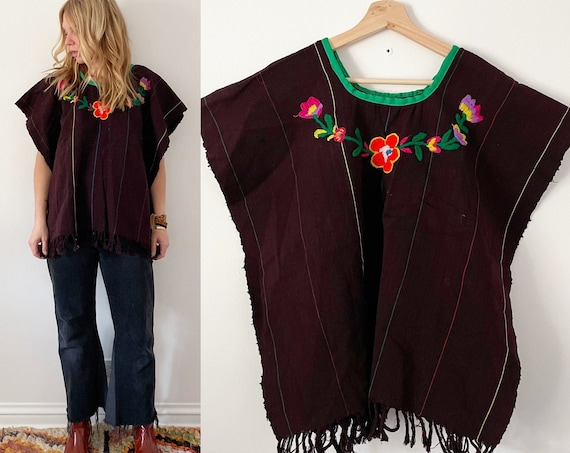 Vintage Mexican Hand Embroidered Huipil Top , Embroidered Cotton Poncho