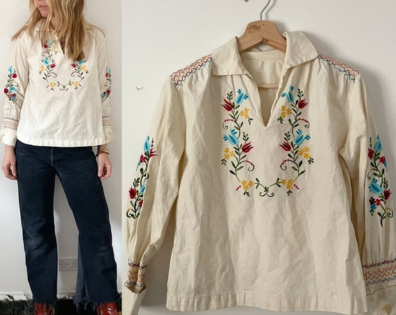 Hand 70s Embroidered Blouse , BOHO Folk Blouse