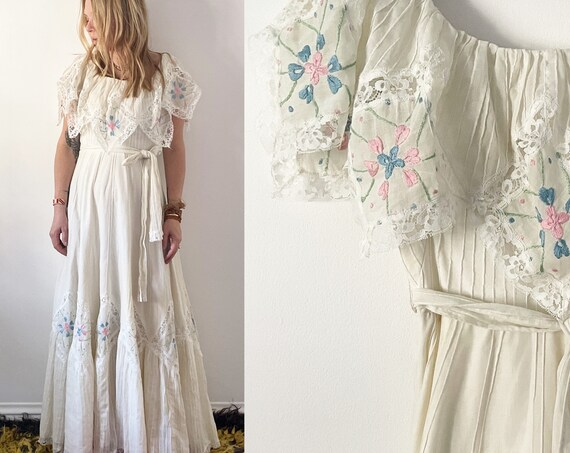 Vintage 70s Hand Embroidered Laced Wedding Dress , White Laced Maxi Dress