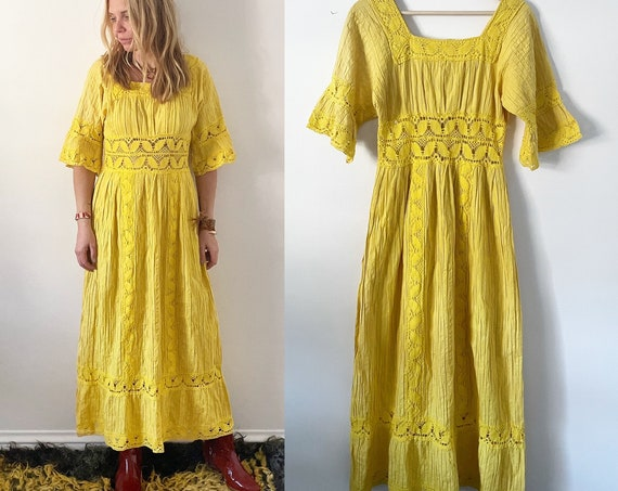 vintage Lace Trim Mexican Cotton Dress ,  Natural Cotton Maxi Kaftan , Mexican Wedding Dress