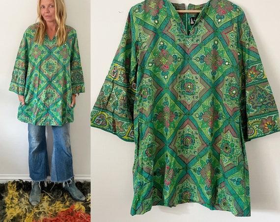 RESERVED// Vintage Ramona Rull Block Print Mirrored Tunic , Indian Block Print Mini Dress , Mirrored Tunic Blouse