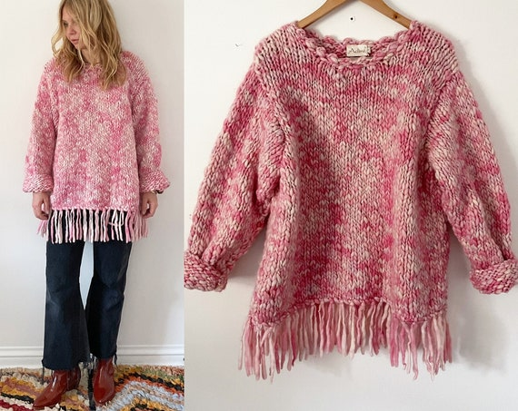 Vintage ADINI Chunky Wool Sweater , Adini fringed Pullover , Chunky Pink Knit