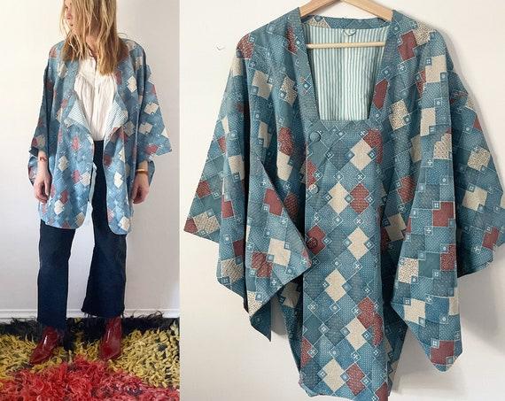 Vintage Silk Japanese Kimono, Silk Kimono , Layering Jacket