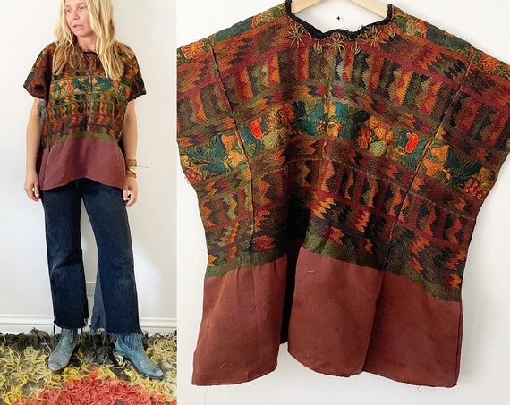 Vintage Guatemalan Huipil , Hand Loomed Beaded Embroidered Ethnic Top , Embroidered  Blouse