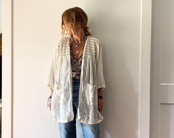 Vintage 70s Mexican Lace Trim Jacket, Kimono