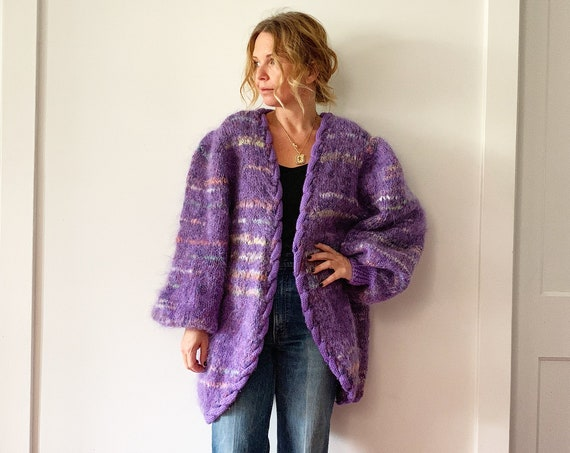 Vintage Oversize Mohair Cardigan , Chunky Mohair Knit